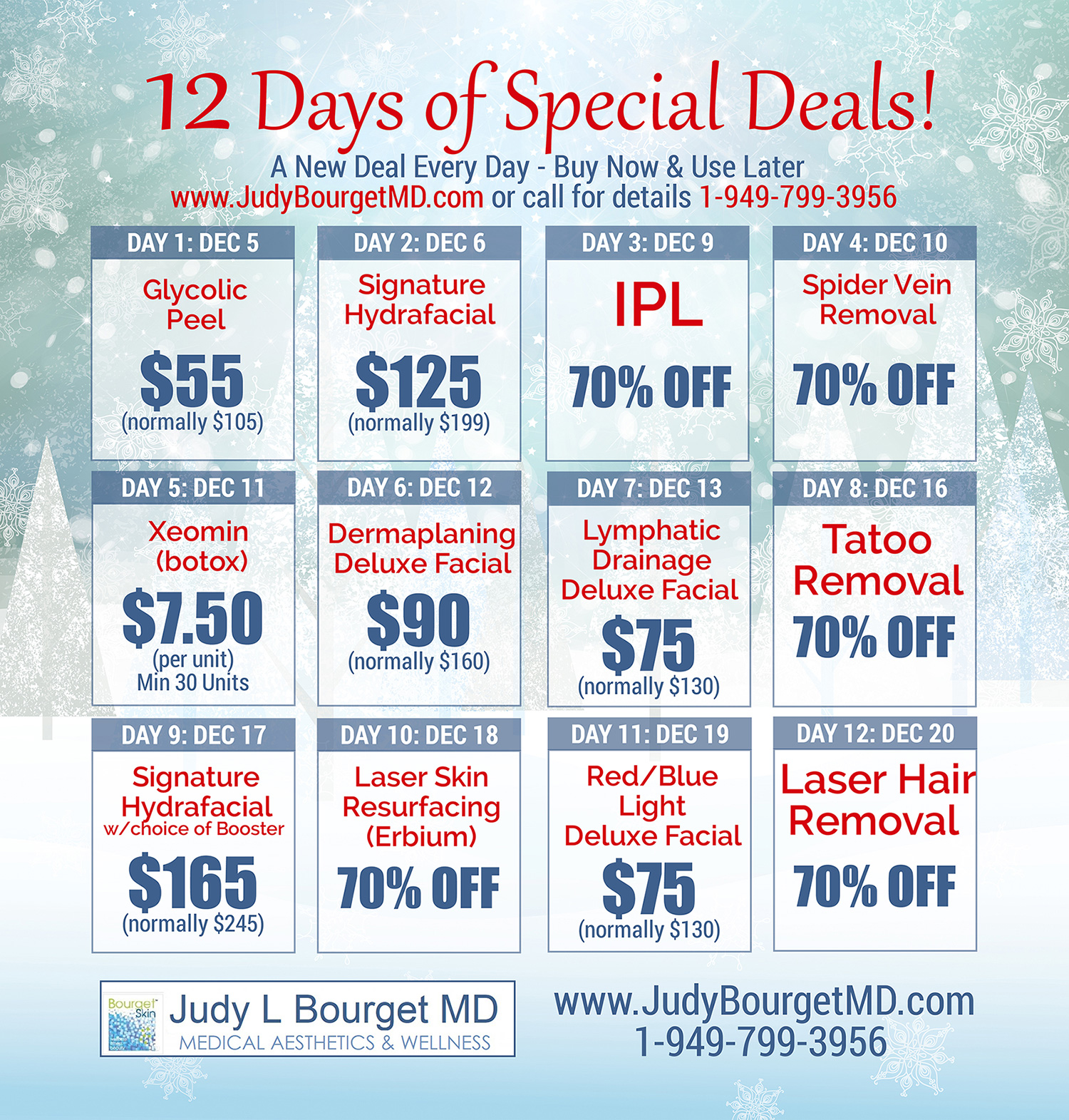 Announcing the 12 Days of Savings!! Please take advantage of our holiday savings to you.